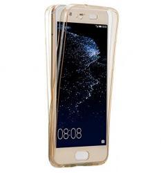 Husa Full TPU 360 (fata + spate) pentru Huawei P10 Plus, Gold Transparent0