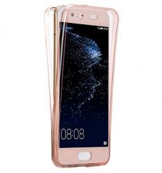 Husa Full TPU 360 (fata + spate) pentru Huawei P10, Rose Gold Transparent