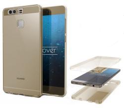 Husa Full TPU 360 (fata + spate) pentru Huawei P9, Gold Transparent1