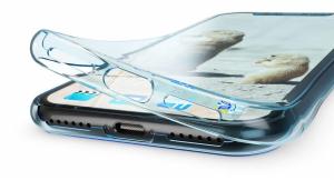 Husa Full TPU 360 fata + spate pentru iPhone XR, Albastru transparent3