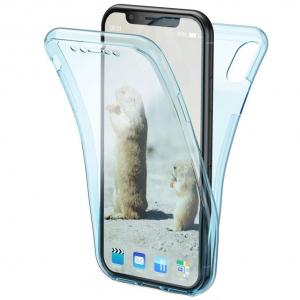 Husa Full TPU 360 fata + spate pentru iPhone XR, Albastru transparent0