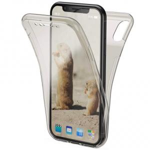 Husa Full TPU 360 fata + spate pentru iPhone XR, Gri transparent0