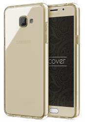 Husa Full TPU 360 (fata + spate) pentru Samsung Galaxy A7 (2016), Gold transparent