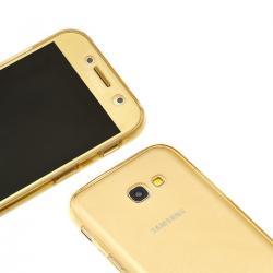 Husa Full TPU 360 (fata + spate) pentru Samsung Galaxy A7 (2017), Gold transparent1