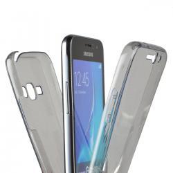 Husa Full TPU 360 (fata + spate) pentru Samsung Galaxy J1 (2016), Gri Transparent1