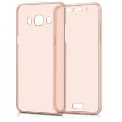 Husa Full TPU 360 (fata + spate) pentru Samsung Galaxy J5 (2016), Rose Gold Transparent