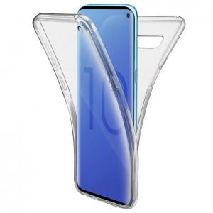 Husa Full TPU 360 fata + spate pentru Samsung Galaxy S10, Gri Transparent0