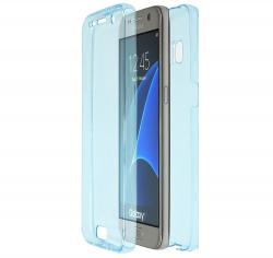 Husa Full TPU 360 (fata + spate) pentru Samsung Galaxy S6, Albastru transparent