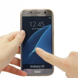 Husa Full TPU 360 (fata + spate) pentru Samsung Galaxy S7, Gold transparent