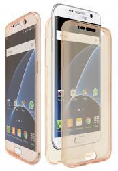 Husa Full TPU 360 (fata + spate) pentru Samsung Galaxy S7 Edge, Gold Transparent [0]
