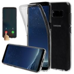 Husa Full TPU 360 (fata + spate) pentru Samsung Galaxy S8, Gri Transparent0