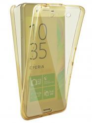 Husa Full TPU 360 (fata + spate) pentru Sony Xperia X, Gold transparent0