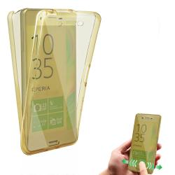 Husa Full TPU 360 (fata + spate) pentru Sony Xperia X, Gold transparent1
