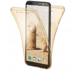 Husa Full TPU 360 fata + spate Samsung Galaxy A6+ (2018), Gold transparent [0]