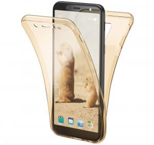 Husa Full TPU 360 fata + spate Samsung Galaxy A6 (2018), Gold transparent [0]