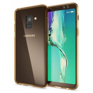 Husa Full TPU 360 fata + spate Samsung Galaxy A8 Plus (2018), Gold transparent1