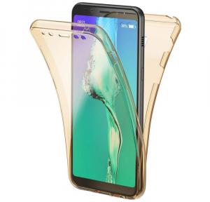 Husa Full TPU 360 fata + spate Samsung Galaxy A8 Plus (2018), Gold transparent0