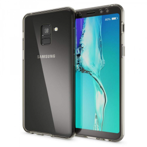 Husa Full TPU 360 fata + spate Samsung Galaxy A8 Plus (2018), Gri transparent1