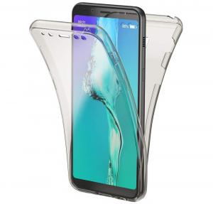 Husa Full TPU 360 fata + spate Samsung Galaxy A8 Plus (2018), Gri transparent0