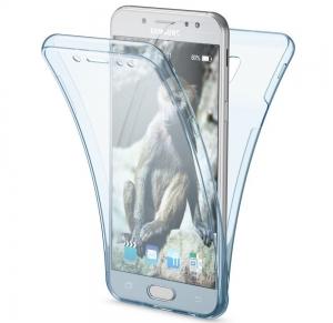 Husa Full TPU 360 fata spate Samsung Galaxy J7 (2017), Albastru Transparent0
