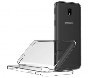 Husa Full TPU 360 fata spate Samsung Galaxy J7 (2017), Gri Transparent2