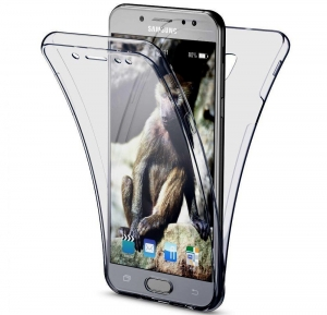 Husa Full TPU 360 fata spate Samsung Galaxy J7 (2017), Gri Transparent0