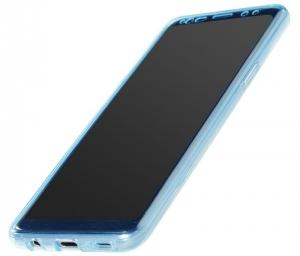Husa Full TPU 360 fata + spate Samsung Galaxy S9, Albastru Transparent2