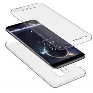 Husa Full TPU 360 fata + spate Samsung Galaxy S9, Gri Transparent1