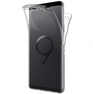 Husa Full TPU 360 fata + spate Samsung Galaxy S9, Gri Transparent2