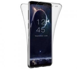 Husa Full TPU 360 fata spate Samsung Galaxy S9 Plus, Gri Transparent0