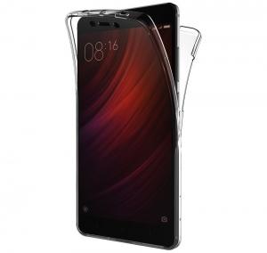 Husa Full TPU 360 fata spate Xiaomi Redmi Note 4, Gri Transparent0