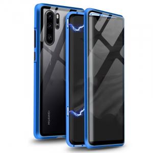 Husa Huawei P30 Pro Magnetic Glass 360 (sticla fata + spate), Albastru2