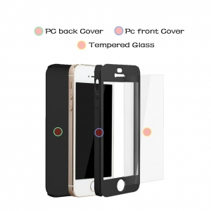 Husa iPaky 360 + folie sticla iPhone 5 / 5S / SE, Black2