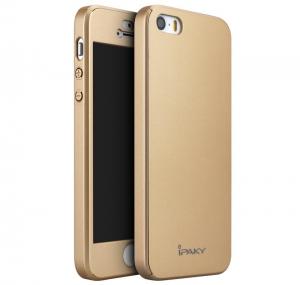 Husa iPaky 360 + folie sticla iPhone 5 / 5S / SE, Gold0