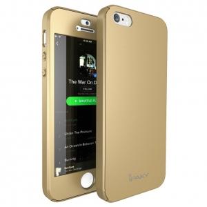 Husa iPaky 360 + folie sticla iPhone 5 / 5S / SE, Gold1