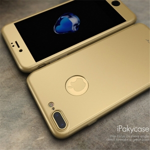 Husa iPaky 360 + folie sticla iPhone 7 Plus, Gold2