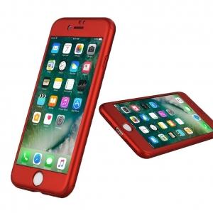Husa iPaky 360 + folie sticla iPhone 7, Red