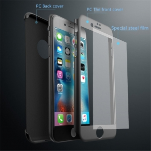 Husa iPaky 360 + folie sticla iPhone 8, Black [1]