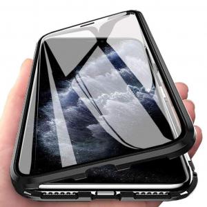 Husa iPhone 11 Magnetic Glass 360 (sticla fata + spate), Negru1