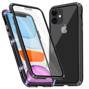 Husa iPhone 11 Magnetic Glass 360 (sticla fata + spate), Negru0
