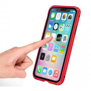 Husa iPhone 11 Magnetic Glass 360 (sticla fata + spate), Red1