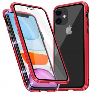 Husa iPhone 11 Magnetic Glass 360 (sticla fata + spate), Red0