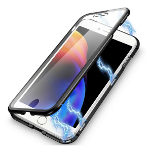 Husa iPhone 8 Magnetic Glass 360 (sticla fata + spate), Negru1