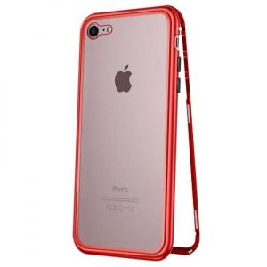 Husa iPhone 7 Magnetic Glass 360 (sticla fata + spate), Red0