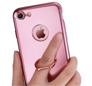 Husa Joyroom 360 Ring + folie sticla iPhone 7, Rose Gold1
