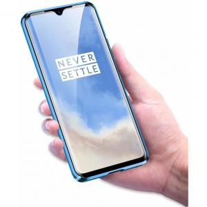 Husa OnePlus 7T Magnetic Glass 360 (sticla fata + spate), Albastru2