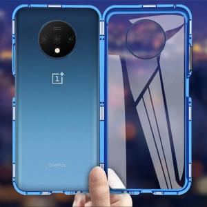 Husa OnePlus 7T Magnetic Glass 360 (sticla fata + spate), Albastru3