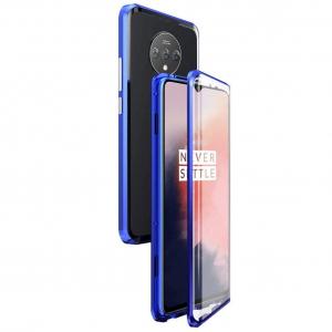 Husa OnePlus 7T Magnetic Glass 360 (sticla fata + spate), Albastru1
