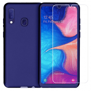 Husa Samsung Galaxy A20 Full Cover 360 + folie sticla, Albastru0
