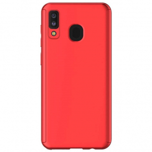 Husa Samsung Galaxy A20 Full Cover 360 + folie sticla, Red1